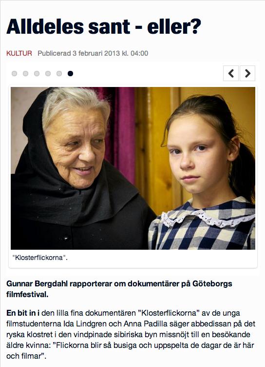 Klosterflickorna dokumentärfilm av Ida Lindgren och Anna Padilla Helsingborgs dagblad